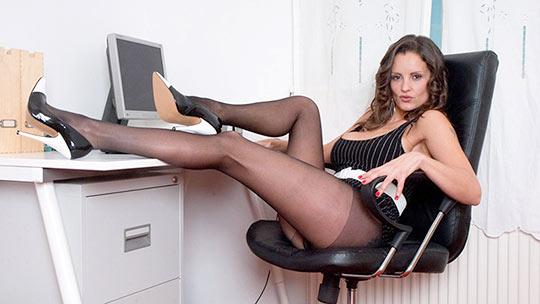 Being dressed in a smart pinstripe mini dress does not ensure no play in the workplace and Val sure likes to play This is the business of sexy pantyhose pleasures Fun on the desktop with our kinky nyloned secretary Val